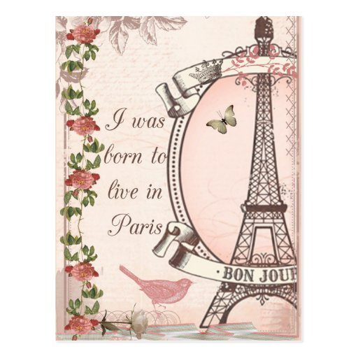 I Was Born to Live in Paris Postcards