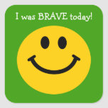 I was brave today yellow smiley face on green square stickers