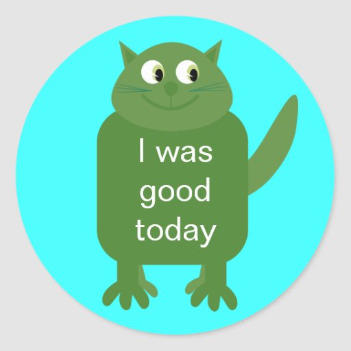 I Was Good Today Cute Green Cartoon Cat Stickers