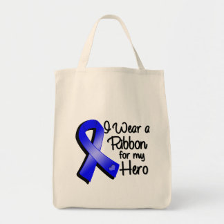 I Wear a Blue Ribbon For My Hero Grocery Tote Bag