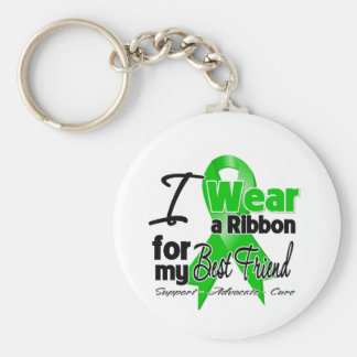 I Wear a Green Ribbon For My Best Friend Basic Round Button Key Ring
