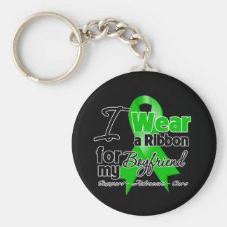 I Wear a Green Ribbon For My Boyfriend Basic Round Button Key Ring