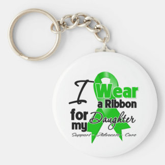 I Wear a Green Ribbon For My Daughter Basic Round Button Key Ring