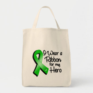 I Wear a Green Ribbon For My Hero Grocery Tote Bag