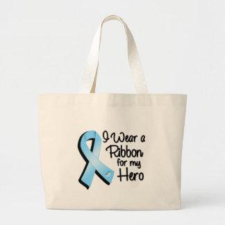 I Wear a Light Blue Ribbon For My Hero Jumbo Tote Bag