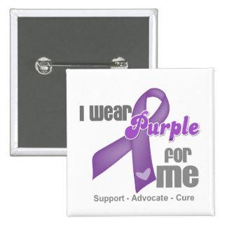 I Wear a Purple Ribbon For Me 15 Cm Square Badge