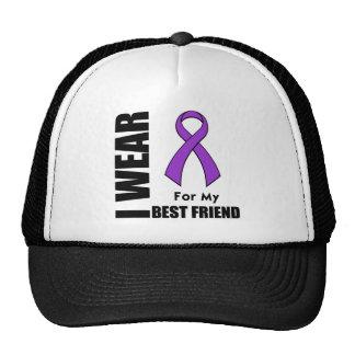 I Wear a Purple Ribbon For My Best Friend Hats