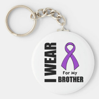 I Wear a Purple Ribbon For My Brother Keychains