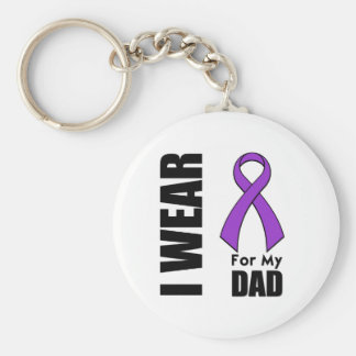 I Wear a Purple Ribbon For My Dad Keychain