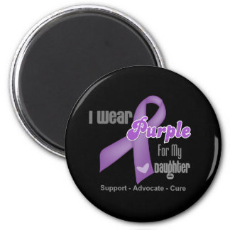 I Wear a Purple Ribbon For My Daughter 6 Cm Round Magnet