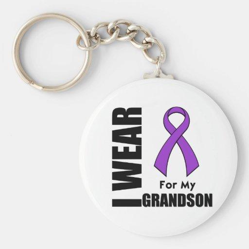 I Wear a Purple Ribbon For My Grandson Key Chain
