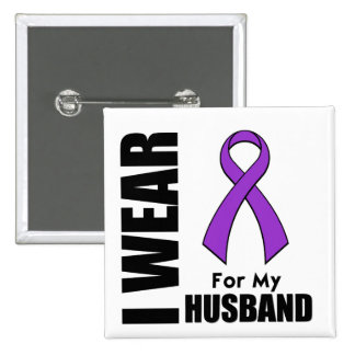 I Wear a Purple Ribbon For My Husband Pinback Buttons