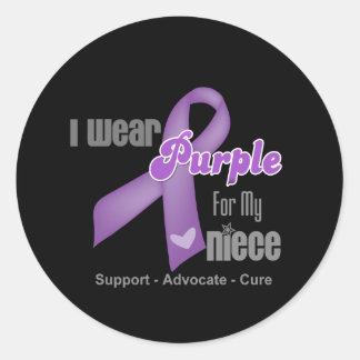 I Wear a Purple Ribbon For My Niece Sticker