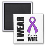 I Wear a Purple Ribbon For My Wife Refrigerator Magnets