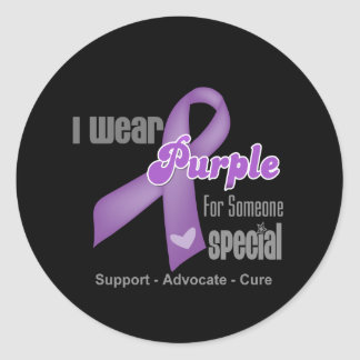 I Wear a Purple Ribbon For Someone Special Classic Round Sticker