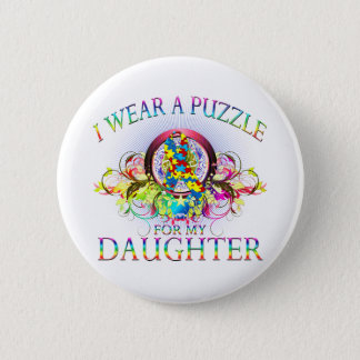 I Wear A Puzzle for my Daughter (floral) 6 Cm Round Badge