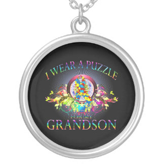 I Wear A Puzzle for my Grandson (floral) Silver Plated Necklace
