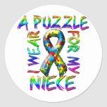 I Wear a Puzzle for my Niece Classic Round Sticker