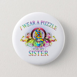 I Wear A Puzzle for my Sister (floral) 6 Cm Round Badge