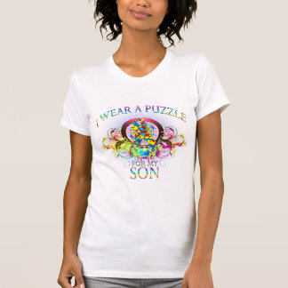 I Wear A Puzzle for my Son (floral) Tshirts