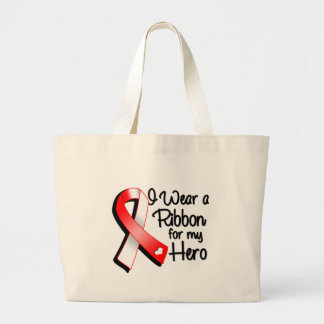 I Wear a Red and White Ribbon For My Hero Jumbo Tote Bag