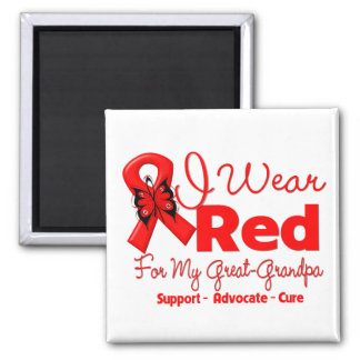 I Wear a Red Ribbon For My Great-Grandpa Square Magnet