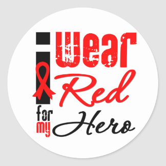 I Wear a Red Ribbon For My Hero Stickers