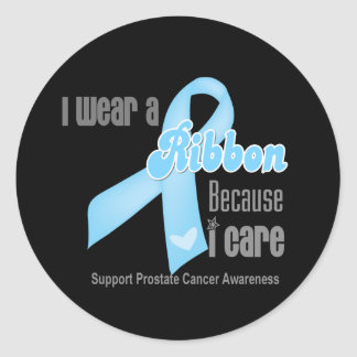 I Wear a Ribbon Because I Care - Prostate Cancer Round Sticker