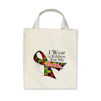 I Wear a Ribbon For My Brother - Autism Awareness Tote Bag