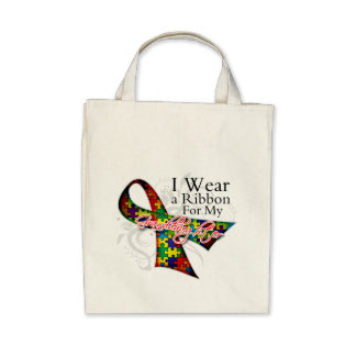 I Wear a Ribbon For My Granddaughter - Autism Awar Tote Bag