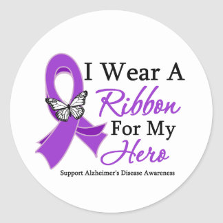 I Wear A Ribbon For My HERO Alzheimer s Disease Sticker