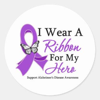 I Wear A Ribbon For My HERO Alzheimer's Disease Round Sticker