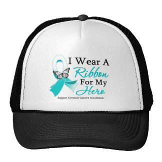 I Wear A Ribbon  For My HERO Cervical Cancer Cap