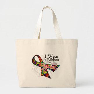 I Wear a Ribbon For My Nephew - Autism Awareness Jumbo Tote Bag