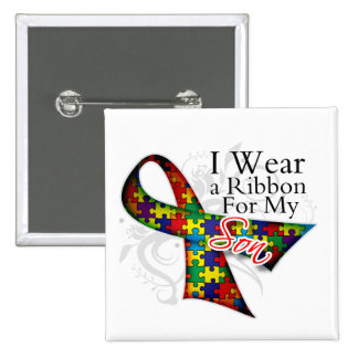 I Wear a Ribbon For My Son - Autism Awareness 15 Cm Square Badge