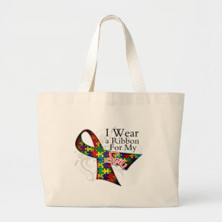 I Wear a Ribbon For My Son - Autism Awareness Tote Bags