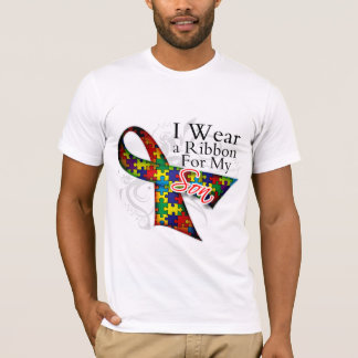 I Wear a Ribbon For My Son - Autism Awareness T-Shirt