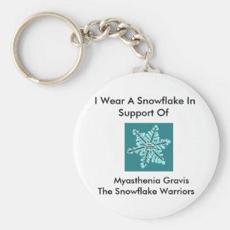 I wear a Snowflake/Myasthenia Gravis Awareness Basic Round Button Key Ring
