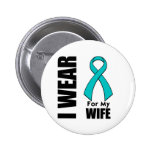 I Wear a Teal Ribbon For My Wife 6 Cm Round Badge