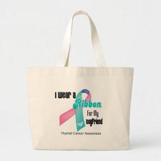 I Wear a Thyroid Cancer Ribbon For My Boyfriend Jumbo Tote Bag