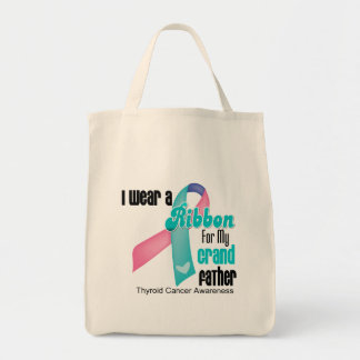 I Wear a Thyroid Cancer Ribbon For My Grandfather Grocery Tote Bag