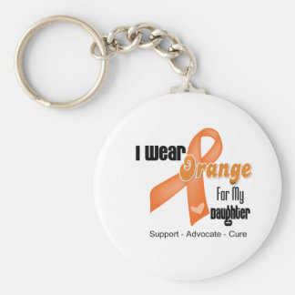 I Wear an Orange Ribbon For My Daughter Basic Round Button Key Ring