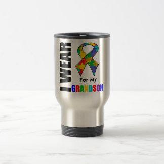 I Wear Autism Ribbon For My Grandson Mugs