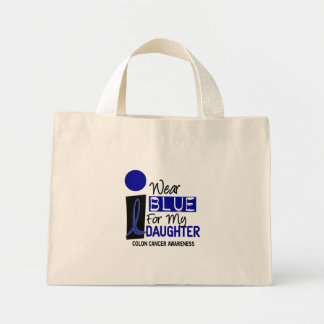 I Wear Blue For My Daughter 9 COLON CANCER Shirts Mini Tote Bag