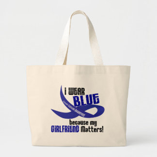 I Wear Blue For My Girlfriend 33 COLON CANCER Jumbo Tote Bag