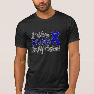 I Wear Blue For My Husband (Blue Awareness Ribbon) Shirts