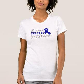 I Wear Blue For My Husband (Blue Awareness Ribbon) Tshirt