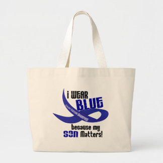 I Wear Blue For My Son 33 COLON CANCER AWARENESS Jumbo Tote Bag