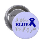 I Wear Blue For My Son (Blue Awareness Ribbon) Badge