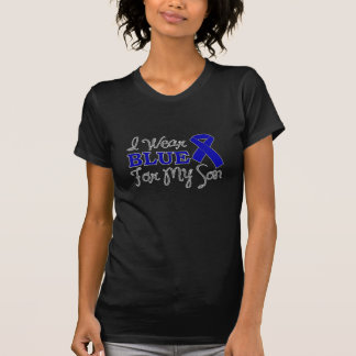 I Wear Blue For My Son Blue Awareness Ribbon Tee Shirts